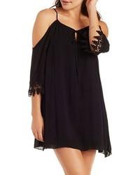 Charlotte Russe Crochet Trim Cold Shoulder Shift Dress