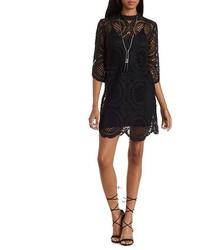 Charlotte Russe Essue High Neck Crochet Shift Dress