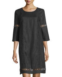 Neiman Marcus Linen 34 Sleeve Crochet Trim Shift Dress Black