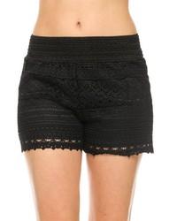 2ne1 Apparel Black Crochet Shorts