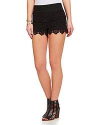 Jolt Tiered Scalloped Crochet Shorts