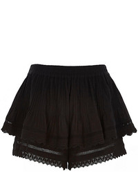 River Island Black Double Layer Crochet Shorts