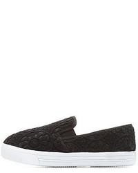 Black Crochet Slip-on Sneakers