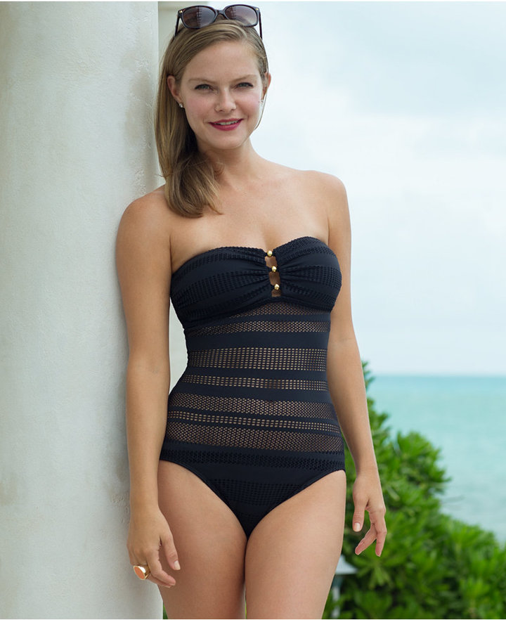 ... Lauren Ralph Lauren Crochet Hardware One Piece Swimsuit ...