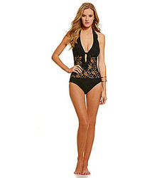Kenneth Cole Reaction Island Fever Crochet Plunge One Piece