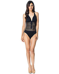 Bleu Rod Beattie Sneak Peak Crochet Halter One Piece