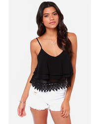 Lush Ruffle Time Black Tank Top