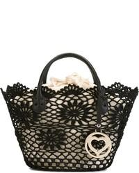 Black Crochet Tote Bag