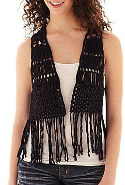 Black Crochet Vest: Takeout Take Out Crochet Fringe Vest ...