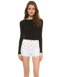 Alice + Olivia Air By Long Sleeve Crew Crop Top