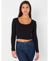 American Apparel Baby Rib Long Sleeve Crop Top