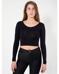 American Apparel Cotton Spandex Jersey Long Sleeve Crop Top