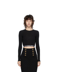 Balmain Black Cropped Logo T Shirt