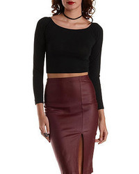 Charlotte Russe Boat Neck Long Sleeve Crop Top