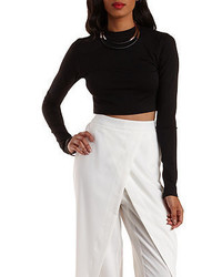 Charlotte Russe Mock Neck Long Sleeve Crop Top