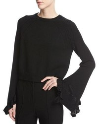 Cropped bell sleeve ruffle pullover sweater black medium 3746148