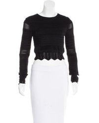 Torn By Ronny Kobo Cropped Long Sleeve Sweater