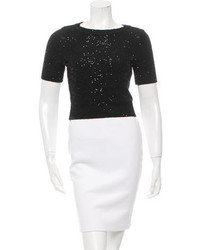 Oscar de la Renta Cropped Sequined Sweater