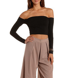 Charlotte Russe Long Sleeve Off The Shoulder Crop Top