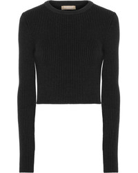 Michl kors collection cropped ribbed wool blend sweater black medium 5219885