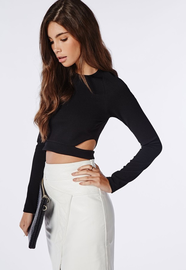c65890f697a Missguided Long Sleeve Cut Out Crop Top Black, $30   Missguided ...