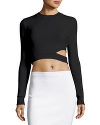 Thierry Mugler Long Sleeve Cutout Cropped Sweater