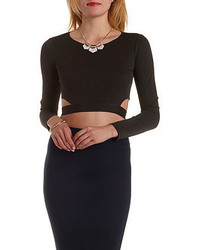 Charlotte Russe Tie Back Long Sleeve Crop Top