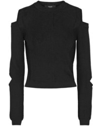 Versus Versace Cropped Cutout Ribbed Knit Sweater Black