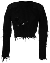 Yeezy Season 3 Destroyed Cropped Military Rib Jumper With Patches