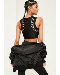 Missguided Active Black Cross Detail Crop Top