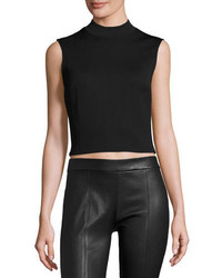 MCQ Alexander Ueen Sleeveless Cropped Ponte Top Darkest Black