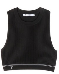 Alexander Wang T By Cropped Ribbed Top