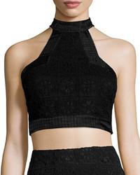 Alexis Janek Lace High Neck Crop Top