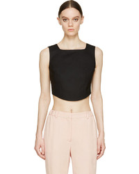 Carven Black Cropped Bustier Top