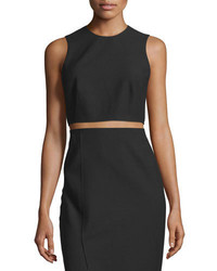 Elizabeth and James Bowen Sleeveless Crepe Cropped Top Black