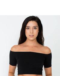 7bbbb729189 ... American Apparel Cotton Spandex Off Shoulder Crop Top Short Sleeve  Rsa8389