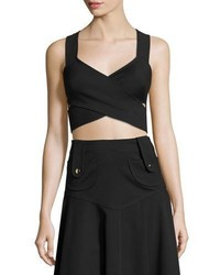 Derek Lam Crisscross Cropped Sleeveless Top Black