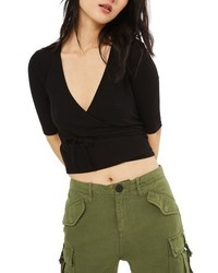 Topshop Crop Wrap Top