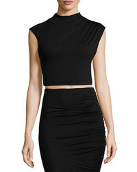 Alice + Olivia Draped Jersey Crop Top