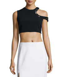 Thierry Mugler Hardware Trimmed Keyhole Crop Top