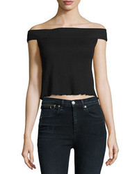 Rag & Bone Jean Thermal Off The Shoulder Crop Top