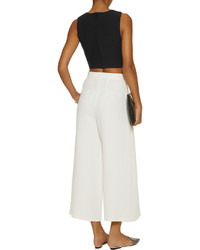 Elizabeth and James Judith Cropped Crepe And Silk Chiffon Paneled Top
