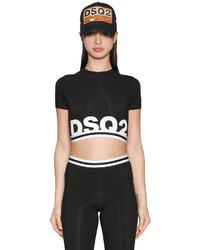 Dsquared2 Logo Stretch Jersey Crop Top