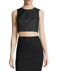 Michael Kors Michl Kors Sleeveless Jewel Neck Crop Top Black