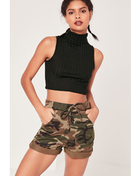 Missguided Chunky Ribbed Turtle Neck Crop Top Black