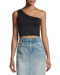 Helmut Lang One Shoulder Cropped Stretch Knit Bra Top Black