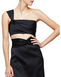 3.1 Phillip Lim One Shoulder Satin Crop Top Black