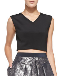 Rebecca Taylor Sleeveless V Neck Crop Top