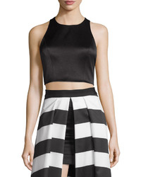 Alice + Olivia Tru Sleeveless Structured Crop Top Black