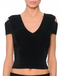 Versace Short Sleeve Multi Slit Crop Top Black